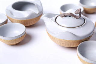 Handmade Bamboo and Off White Porcelain 8-Piece Tea Set