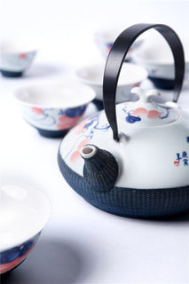 Handmade and Hand-painted Bamboo and Porcelain 7-Piece Tea Set