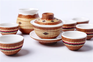 Handmade Bamboo and White Porcelain 8-Piece Tea Set