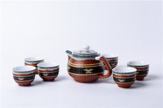 Handmade Bamboo and White Porcelain 7-Piece Tea Set
