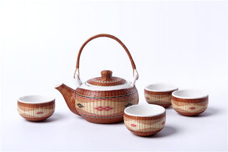 Handmade Bamboo and White Porcelain 5-Piece Tea Set