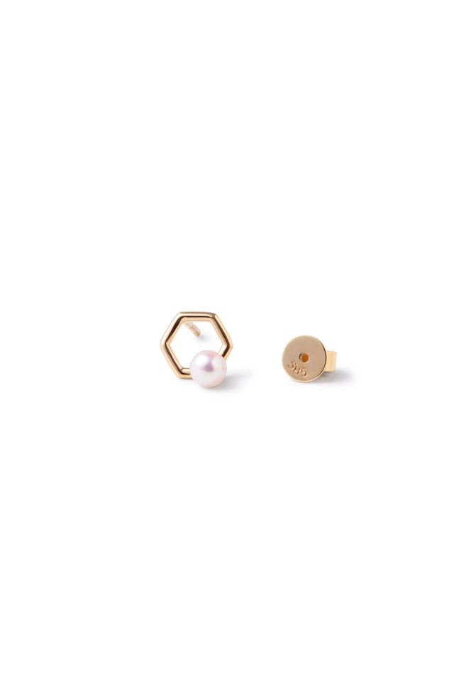 14k Gold and Japanese AKOYA Pearl Benzene Earrings (1 Piece)