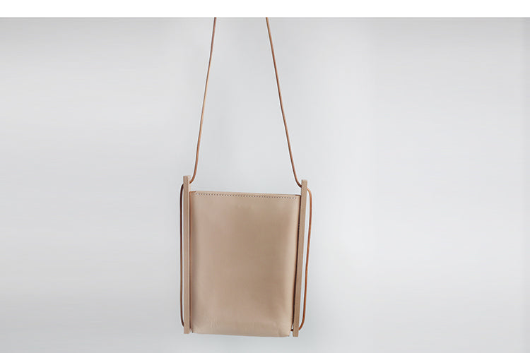 Wood and Leather Shoulder Bag