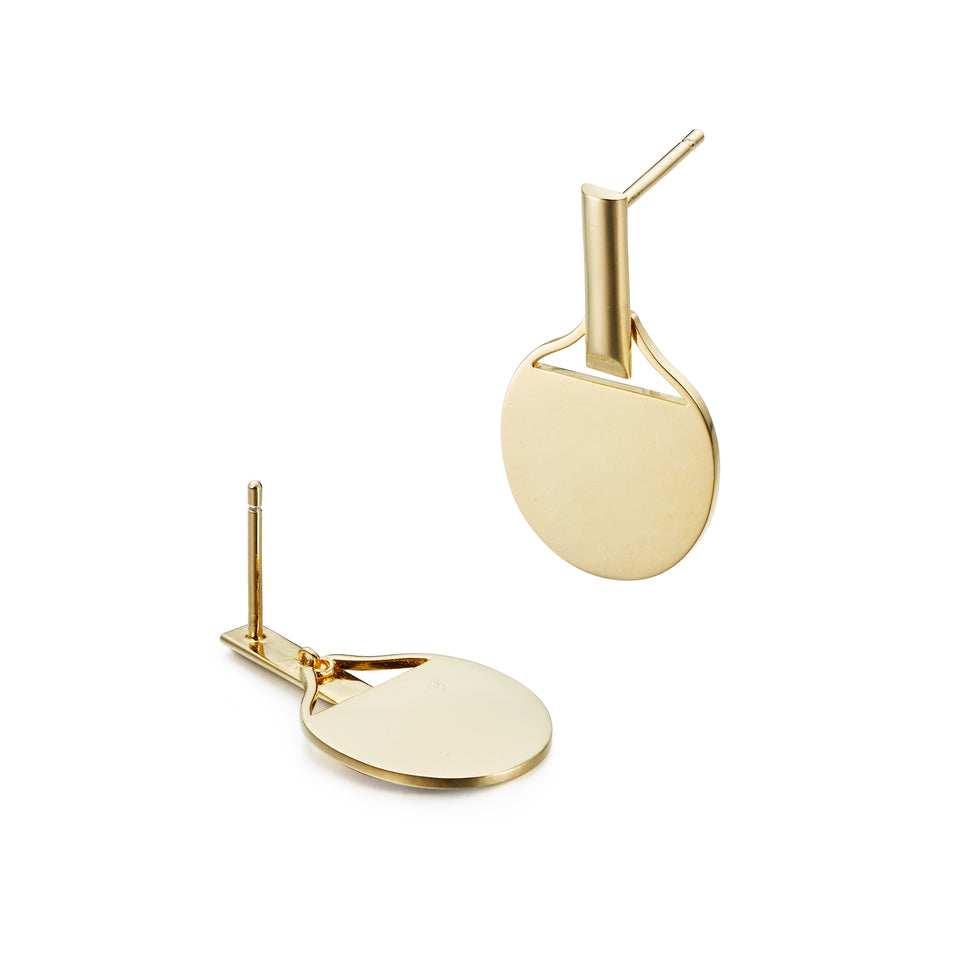 925 Silver Gold Plated Ping Pong Paddle Earrings