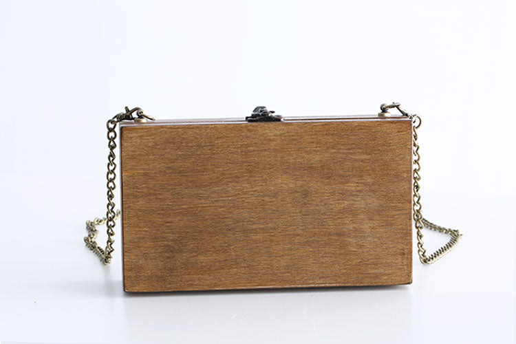 Pine Wood Square Brown Handbag