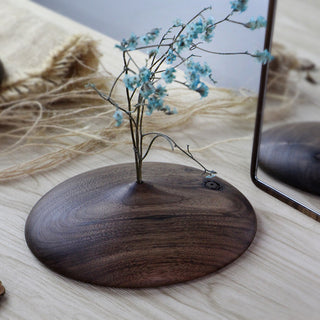 Handmade Black Walnut Wood Flat Vase(3-Piece Set)