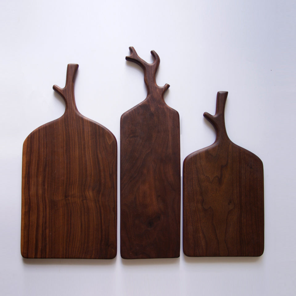 Handmade Black Walnut Antlers Series Tray Set