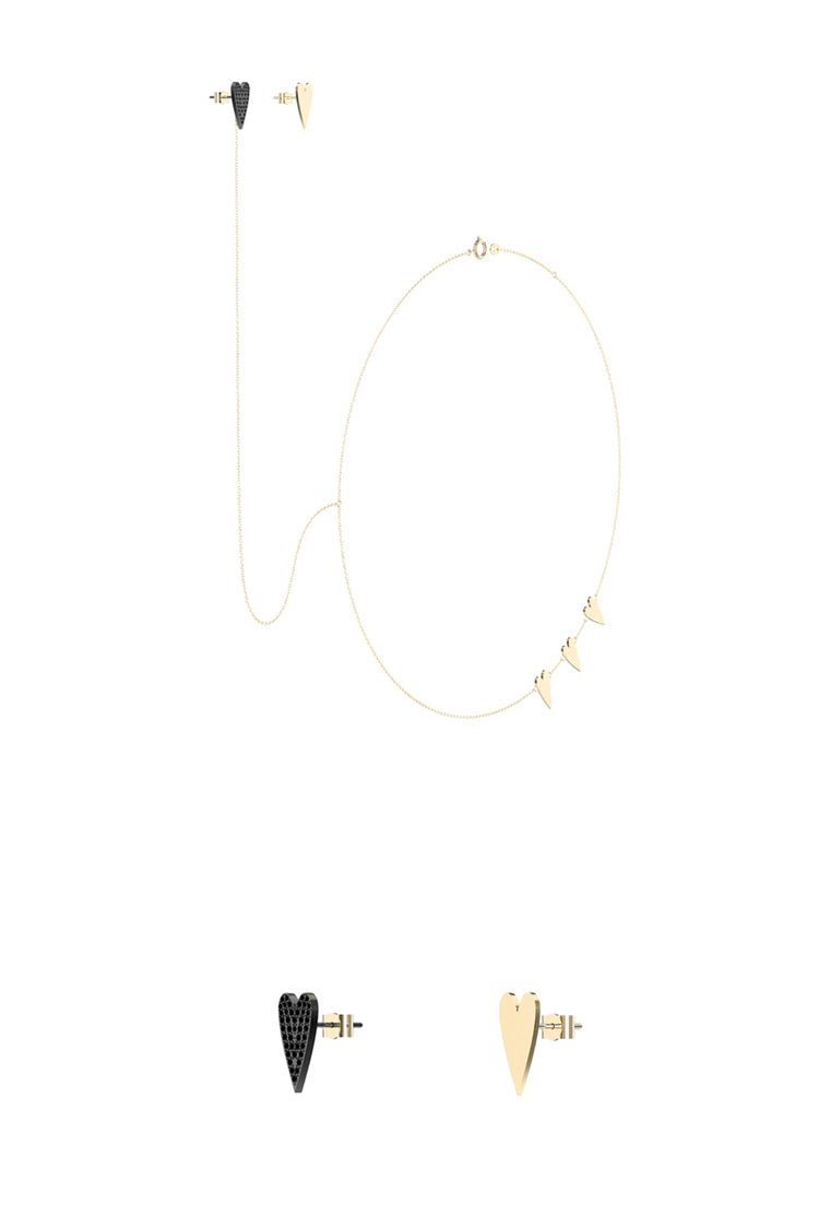 Heart One-Piece Earring and Necklace
