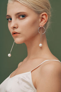 Gold and Pearl Hoop and Asymmetric Dangling Earrings