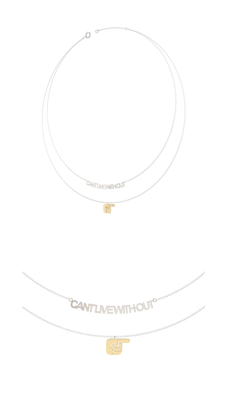 Can't Live Without Text and Fingers Gold Pendant Necklace