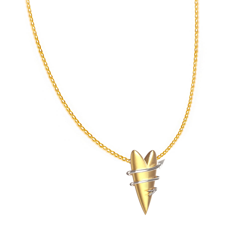Winding Arrow Heart Pendant Chain Necklace