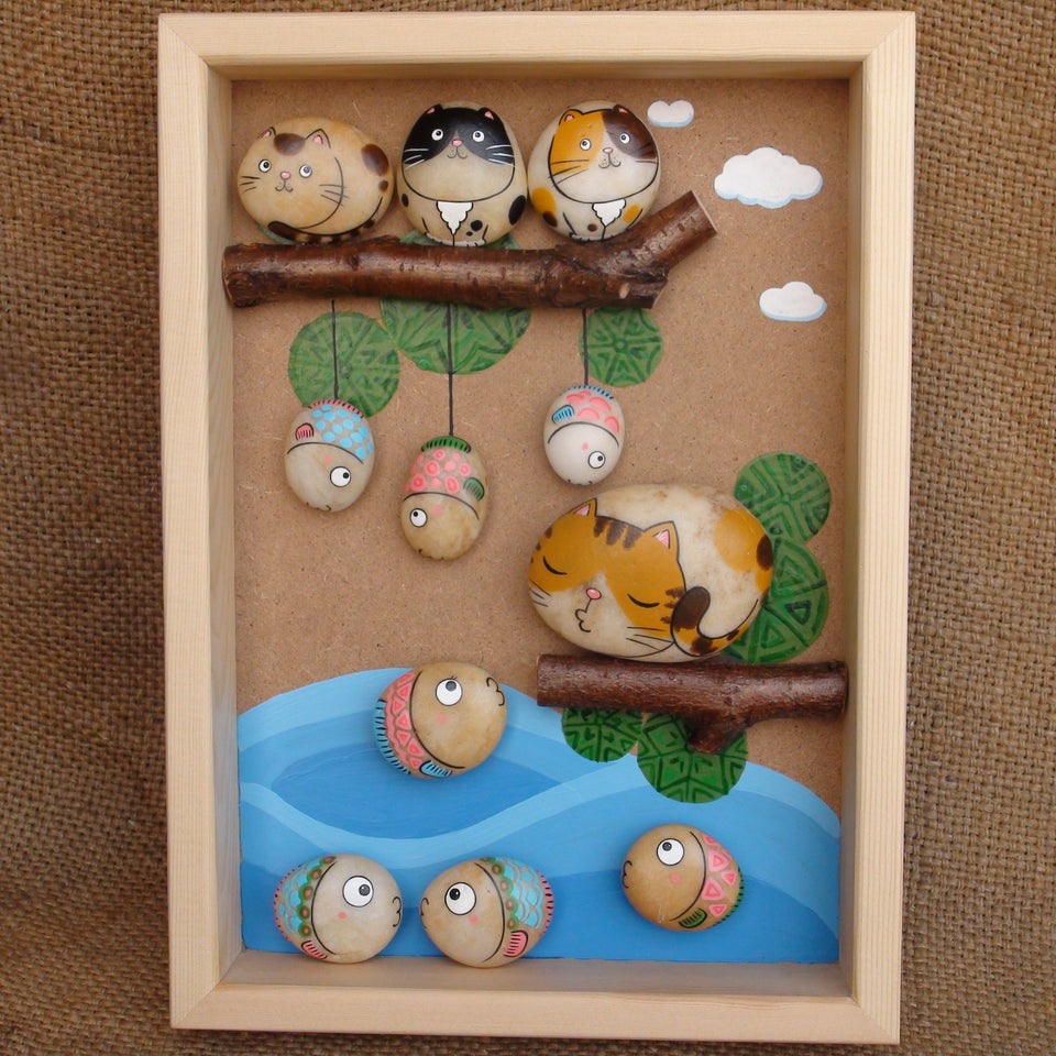 Handmade Painting Stone-Cat&Fish(Big)