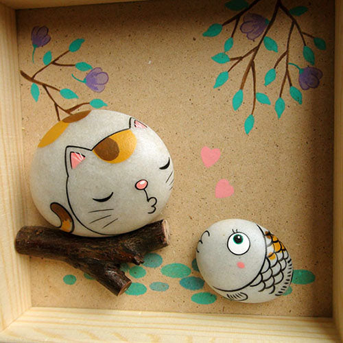 Handmade Painting Stone-Cat&Fish
