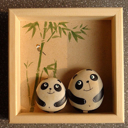 Handmade Painting Stone-Two Pandas