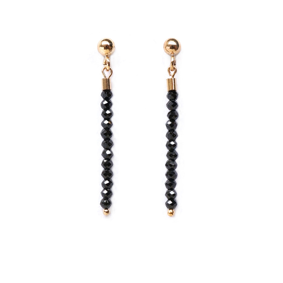 14k Gold Filled Small Black Gems Dangling Earrings (1 Pair)