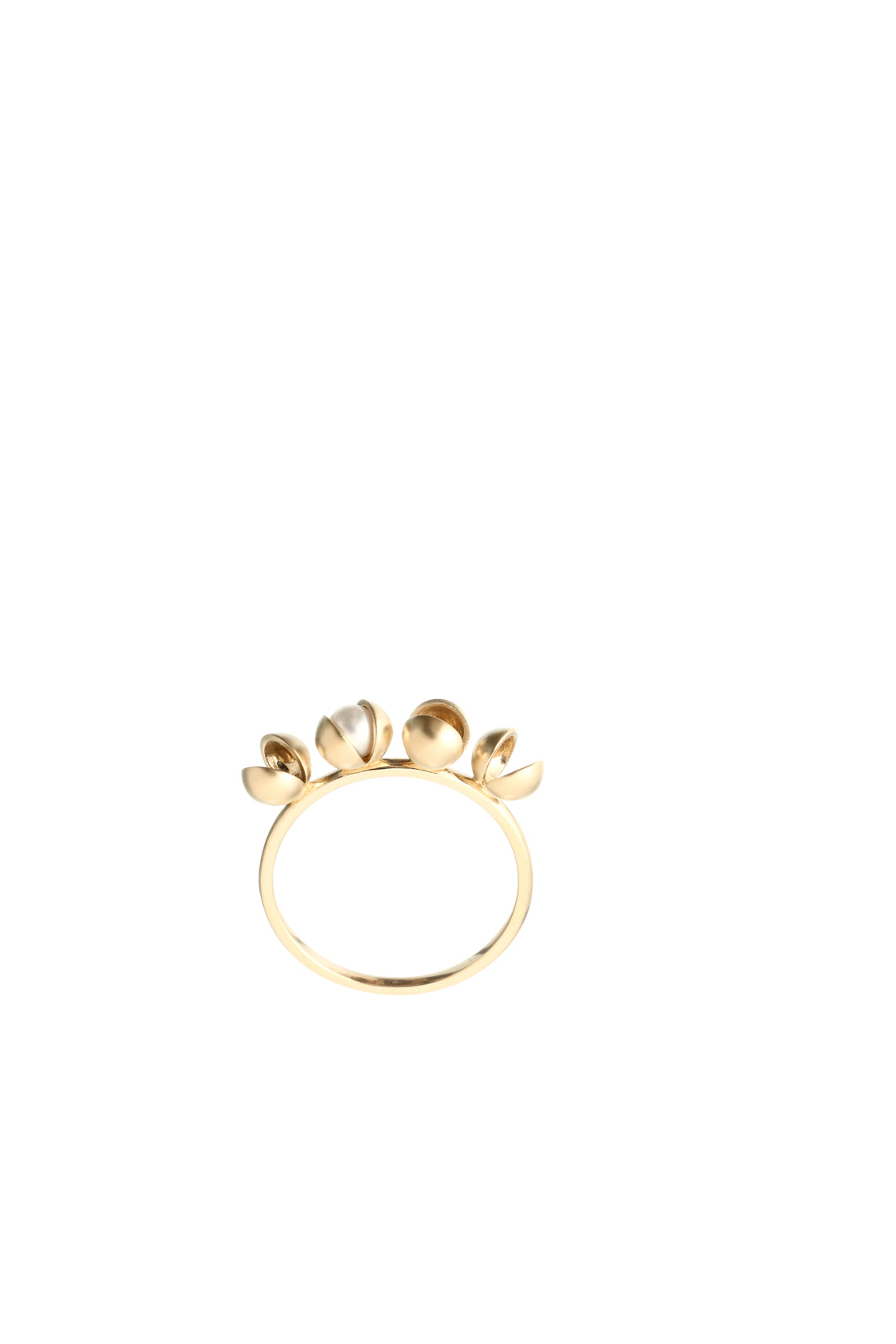 14k Gold Row of Peppercorns and Japanese AKOYA Pearl Ring