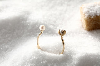 14k Gold Peppercorn and Japanese AKOYA Pearl Open Ring