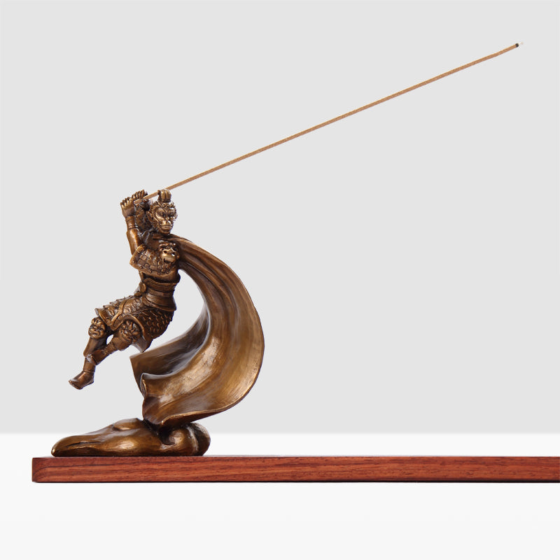 Bronze and Mahogany Wukong Incense Holder
