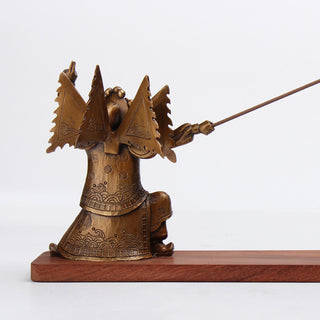 Bronze and Mahogany Chinese Swordsman Incense Holder