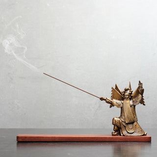 Bronze and Mahogany Chinese Lowered Swordsman Incense Holder