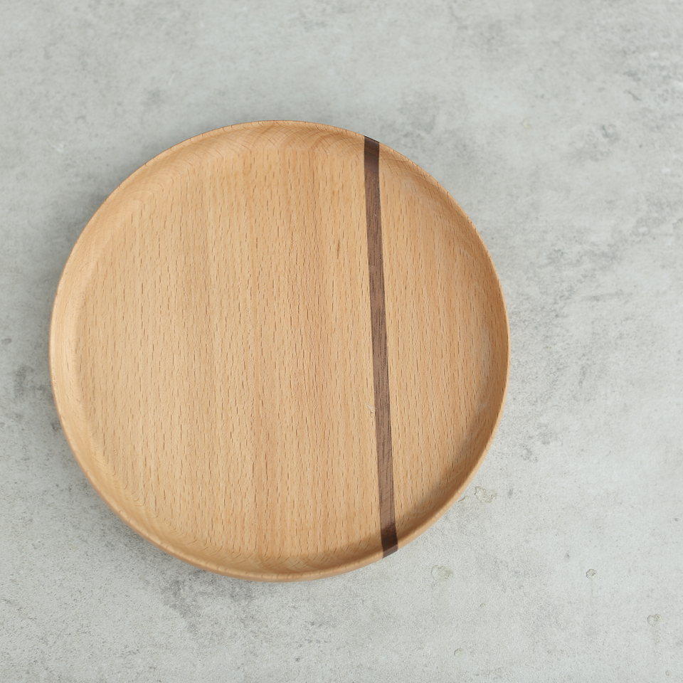 Light North American Black Walnut and Beech Plate