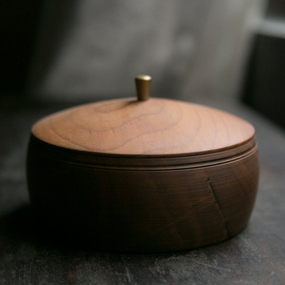 North American Black Walnut and Brass Food Container