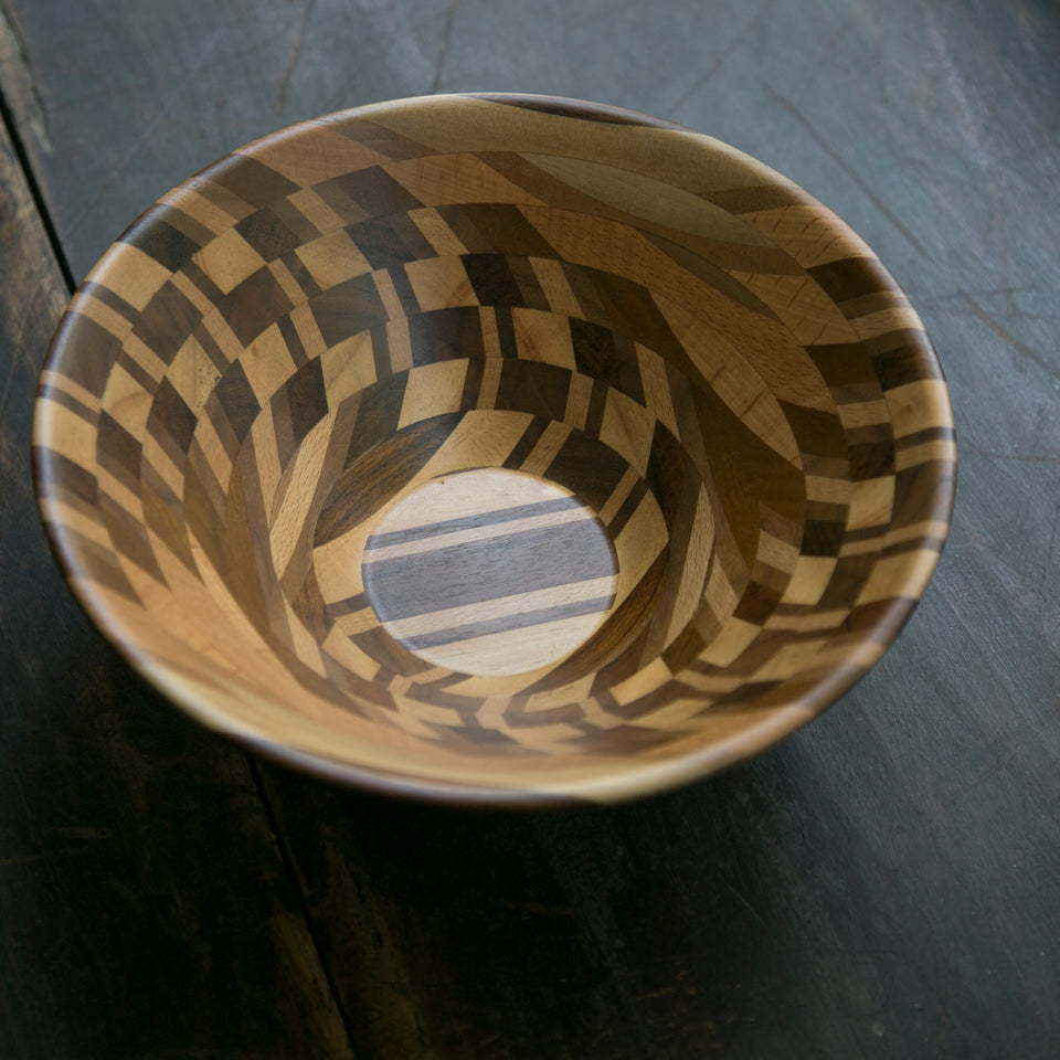 North American Black Walnut, Gold Teak, Myanmar Teak, and Chinese Fir Bowl