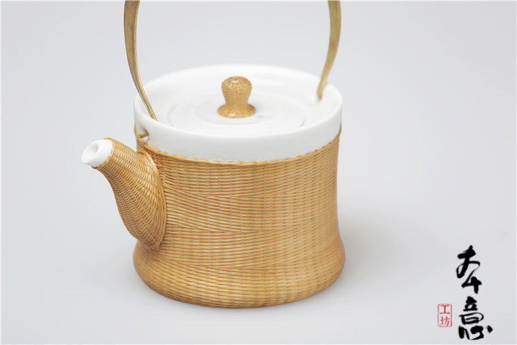 Handmade Bamboo and Porcelain Teapot