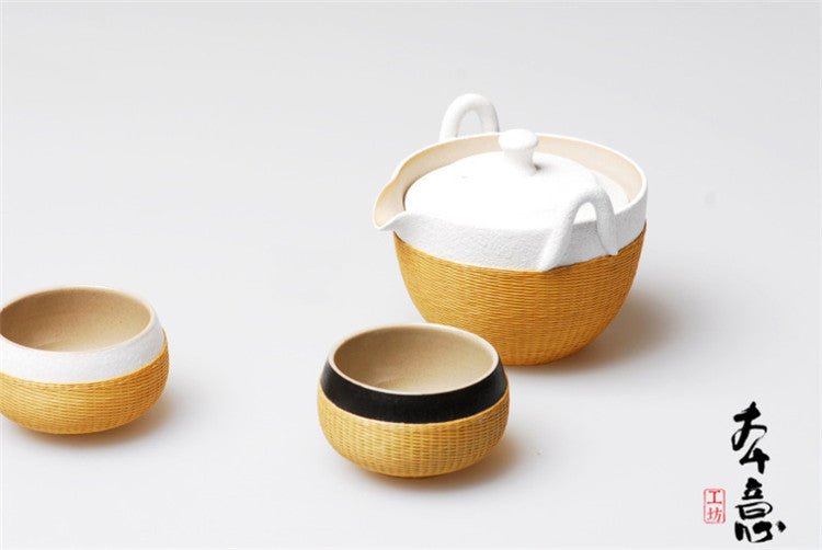 Handmade Bamboo and Black and White Porcelain 3-Piece Tea Set
