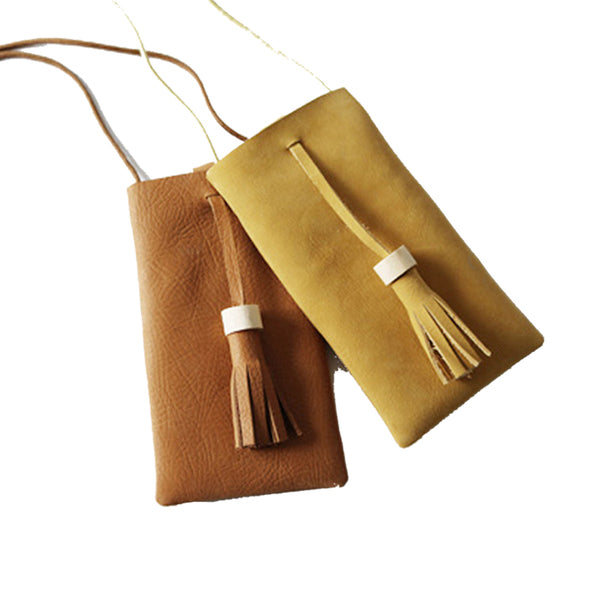 Leather Tassel Mobile Phone Pouch