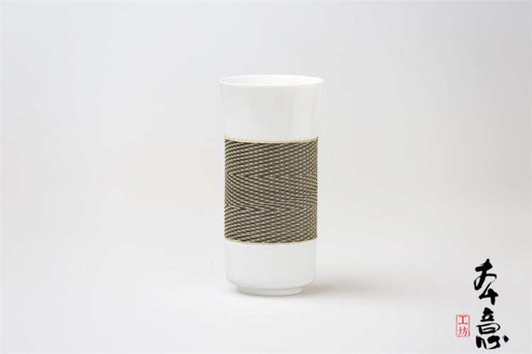 Handmade Bamboo and Porcelain Tall Cup