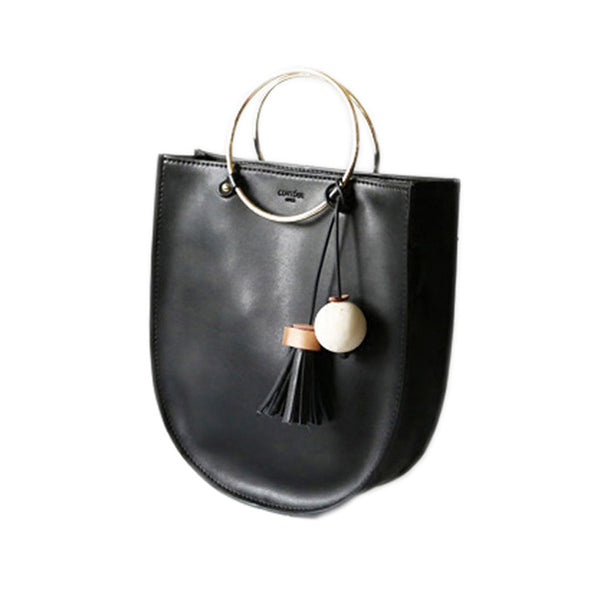 Mini Black Leather Tote Bag