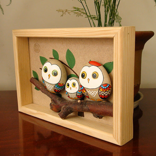 Handmade Painting Stone-Three Owls