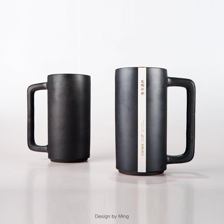 White-Striped Black Viking Mug