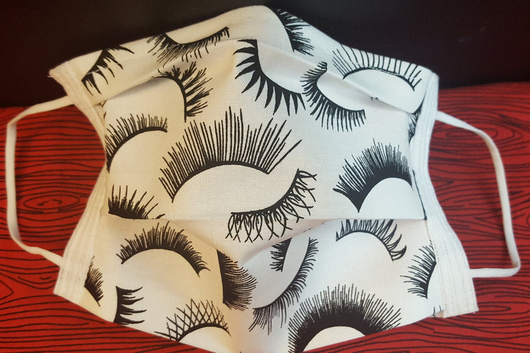Eyelashes -Germ Freak Designer Face Mask by Dena Tyson - Germ Freak by DenaTyson