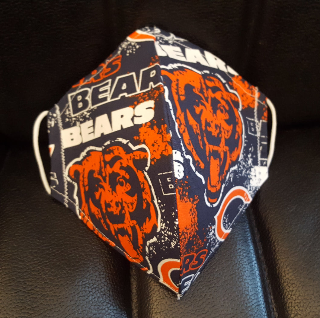 Chicago Bears Inspired-Germ Freak Designer Face Mask by Dena Tyson - Germ Freak by DenaTyson