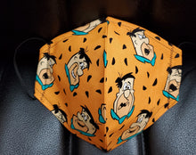 Fred Flintstone face mask - washable reusable face mask- face mask with nose wire-  100 percent Cotton face mask - surgical mask - medical mask - filtered mask