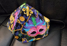 Load image into Gallery viewer, Mardi Gras print face mask-