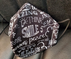 Inspiring Words on Fabric Print Face Mask