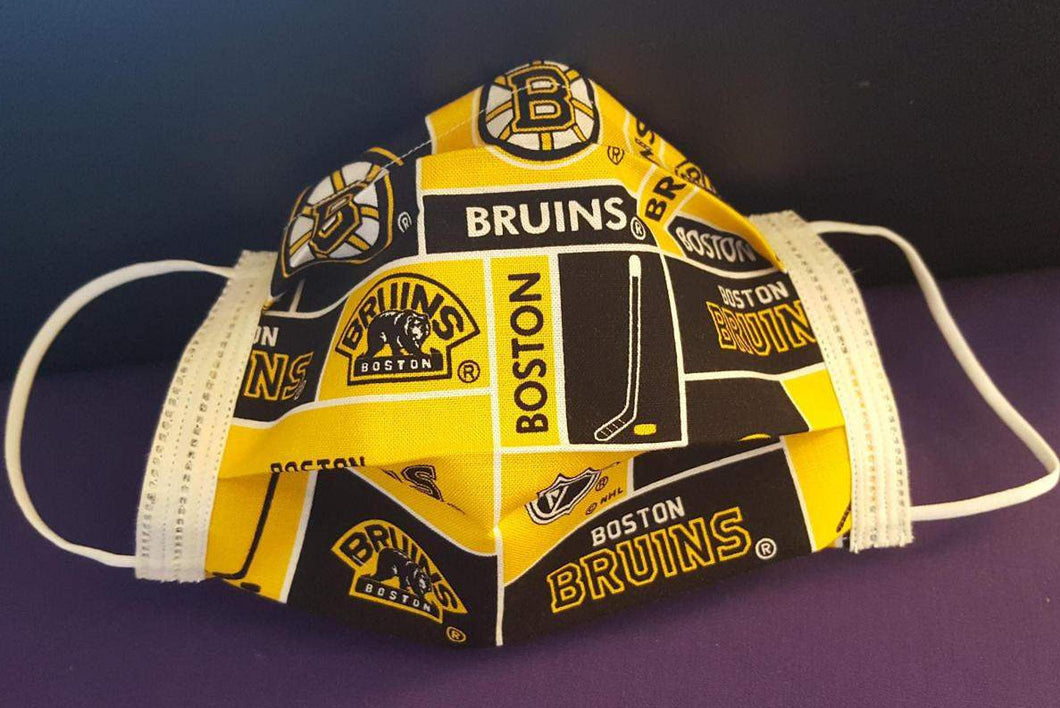 Boston Bruins - Boston - bruins face mask - Boston Bruins Face Mask - sports team mask - surgical face mask - flu mask - mouth mask - medical mask - face cover - protective face mask - Germ Freak Designer Face Mask -  by Dena Tyson - Germ Freak by DenaTyson
