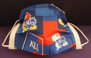 University of Kansas Jayhawk Inspired -Germ Freak Designer Face Mask by Dena Tyson - Germ Freak by DenaTyson