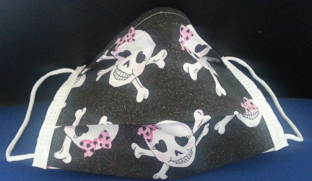 Pretty 'N Pink Skull -Germ Freak Designer Face Mask by Dena Tyson - Germ Freak by DenaTyson
