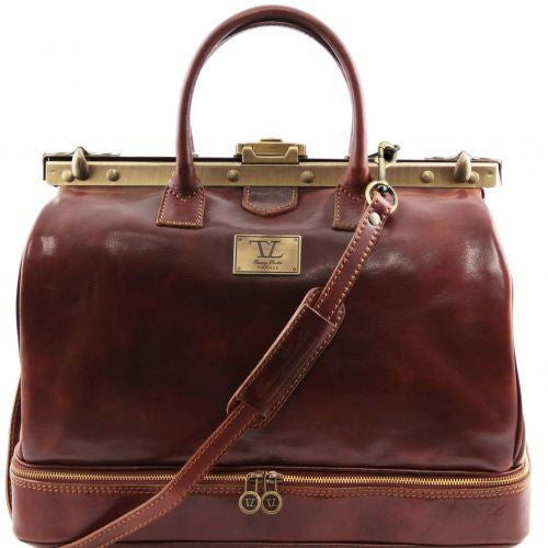 Barcellona - Double-bottom Gladstone Leather Bag