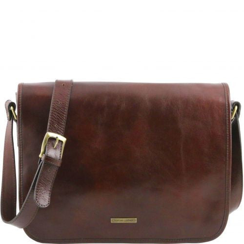 TL Messenger - One compartment leather shoulder bag - Large size