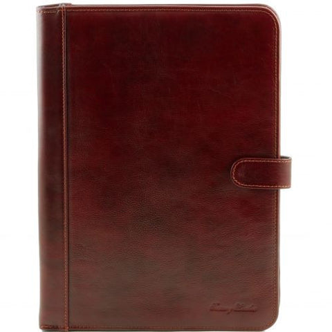 Adriano - Leather document case with button closure