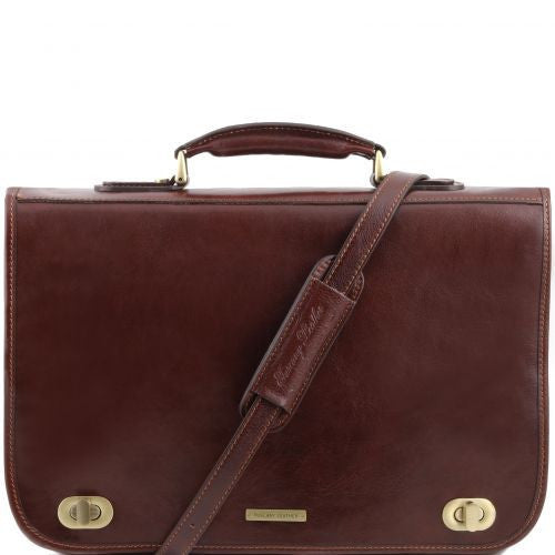 Certaldo - Leather messenger bag 2 compartments
