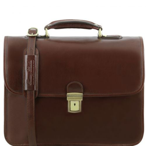 Vernazza - Leather briefcase with Laptop compartment 3 compartments