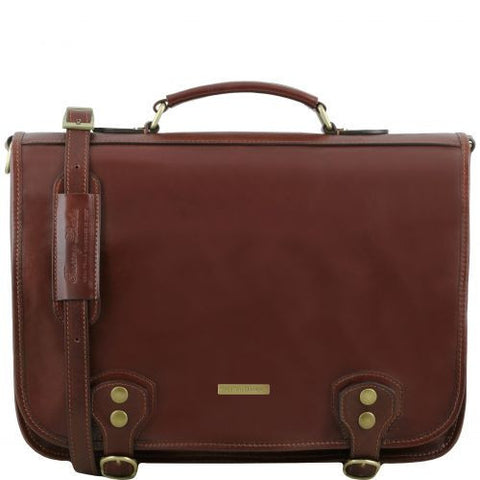 Ancona - 2 Compartments leather messenger bag with flap