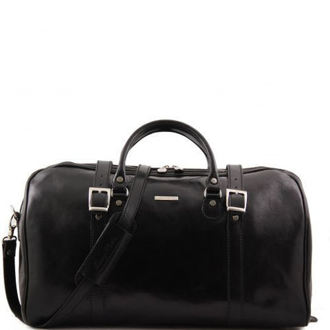 Berlin - Travel leather duffle bag with front straps - Large size