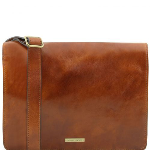 TL Messenger - 1 compartment leather shoulder bag - Large size